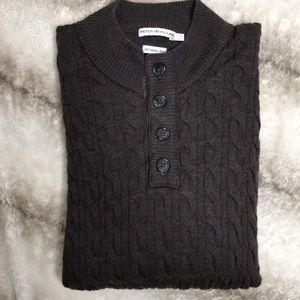 Peter Millar Brown Wool Cableknit Sweater Size LG